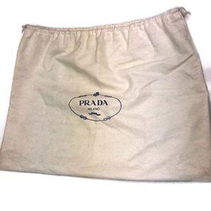 Prada | Milano Drawstring Dust Bag White Blue EUC